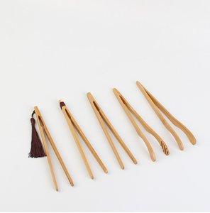 Natural Bamboo Tea Clip Handmade Tea Tweezer Chinese Wooden Kongfu Tea Tools Multifunction Bacon Salad Sugar Food Toast Tongs GH1279-1