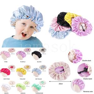 Baby Sleep Cap Satin Night Bonnet Hats Kids Sleeping Hat Hair Care Head Cover Beanie Satin Bonnet Caps Soft Nightcap DB449