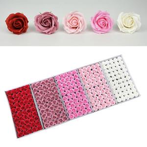 Valentinstag Geschenke SOAP Rose Blumen 4-Lagen Curling Welle Blume Große Blume Kopf Seife Blume Geschenkboxen Bouquet Material HWD4248