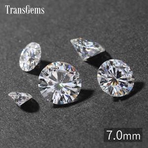TransGems 7 mm 1,2 quilates GH color Certificado crecidas laboratorio diamante Moissanite grano flojo prueba positiva como real piedra preciosa del diamante RHWI #