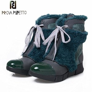 Prova Perfetto Genuine Leather With Fur Front Zipper Snow Boots Winter Warm Shoes Flats Casual Women Ankle Boots
