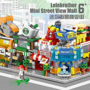 1Building blocks mini street view urban commercial street building model children boys and girls puzzle assembly stall toy puzzle1