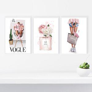 Quadro Moda Şekil Wall Art Tuval Boyama Parfüm Şişesi Posterler Çiçek Ve Baskılar Stil Duvar Resimleri İçin Salon