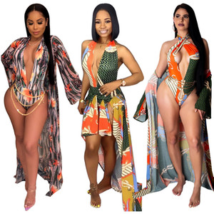 2pcs Summer Sand Beach Sexy Swimwear Deep v Neck Sleeveless Skinny Bodysuits and Long Sleeve Smock Suits Top Quality