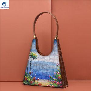Custom Hand painted ART oil Handbags 2020 NEW Summer Shoulder Bag women Genuine leather Bags Womens Messenger bag Handbags