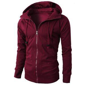 New mens coat sports fitness casual loose hoody clothes jacquard fleece zipper cardigan hooded jacket S-3XL