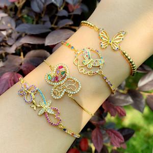 Gold Filled Butterfly Bracelets For Women Multicolor Adjustable Love Letter Bracelet CZ Zirconia Rainbow Jewelry