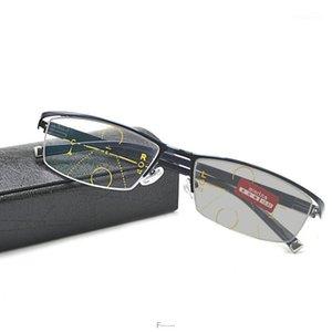 Vintage Übergang Sonne photochromische Lesebrille Männer Frauen Einstellbare Vision mit multifokalen Dioptrien Progressive Glasse FML1