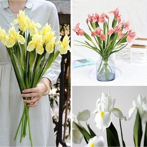 2Pcs Iris Artificial Fake Silk Flowers Branch Bouquet Plant Real Touch Vase Wedding Favors Dinner Home Table Decoration 4