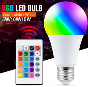 Dimmable LED Bulb 5W 10W 15W E27 LED Light Bulb Hight Brightness White RGB+warm white white Bulb 270 Angle With Remote Control