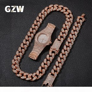 New Fashion Personalized 20mm Gold Blingbling Mens Cuban Link Chain Necklace Bracelet Watch Set Hip Hop Rapper Jewelry Gifts for Men Guys