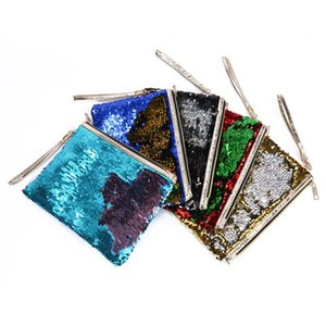 Sequin Glitter Mini Zipper Earphone Coin Wallet Girls Christmas Party Bag Mermaid Sequin Clutch Cosmetic Coin Purse Storage Bag 49 L2