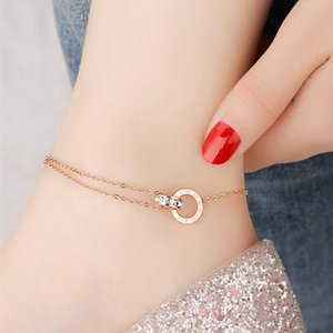 European and American fashion jewelry Anklet 18K Gilded Roman numerals Titanium steel Women Anklet Suitable for Social gathering party