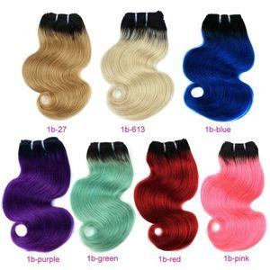 Vraie beauté ombre blonde rouge bleu rose brésilien corps vague cheveux tissé 50g bundles extensions de cheveux humains remy cheveux courts style bob