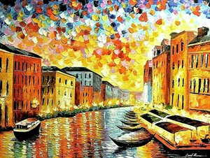 """Leonid Afremov """"Venice-Grand Canal"""" Home Decor Handpainted &HD Print Oil Painting On Canvas Wall Art Canvas Pictures For Living Room 201007"""