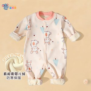Baby onesies plus velvet thickening newborn clothes autumn clothes baby outing romper winter warm clothes base