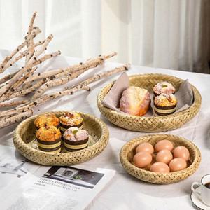 Criatividade Household Bamboo Weaving Frutas Verifique coração Disk Package Tray Hotel Mesa Redonda Melon Semente Estilo Japonês Vapor Etsb #