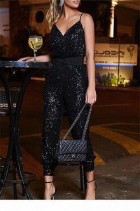 Womens Sexy Sequins Strap Jumpsuits Summer Designer Backless V Neck Elegant Pants Femlaes Night Club Sashes Rompers