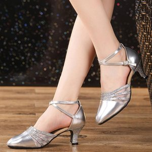 Brand New Latin Dance Shoes Modern Women Ballroom Tango Girls Ladies 3.5 5.5CM Heels With Softsole Sequins Cloth Dropshipping 201017