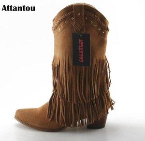 Attantou 패션 여성 부츠 2020 땅딸막 한 높은 굽 중간 송아지 부츠 신발 술 여성 신발 가을 겨울 눈 Botas 보낸 Femininos