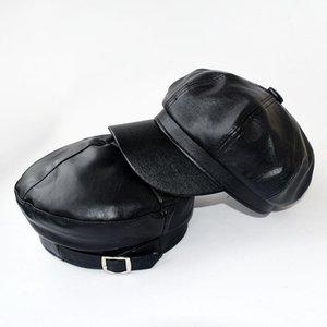 Baldauren Preto PU Leather Octagonal Cap Mulheres New Moda Inverno CapsFall Casual Vintage Chapéus Newsboy Cap Para Mulheres Casquette