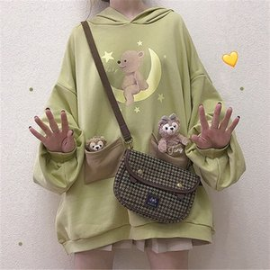 Harajuku Lolita Bear Baby Graphic Sweatshirt Women Kawaii Clothes Spring Oversized Loose Thick Hoodies Long Tops Schoolgirl 201007