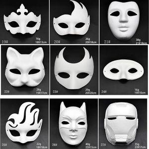 El yapımı Maske Pulp Hayvan Cadılar Bayramı Şenliği Parti Maskesi Beyaz Kağıt Yüz Maskesi Boyama Makyaj Dans Beyaz Maskeler Embriyo Kalıp DIY