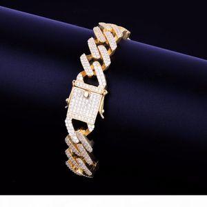 New Arrivals Ice Out Brass Matreial with CZ Stones Men's Cuban Bracelet Gold Rock Street Bracelet Hip Hop Jewelry