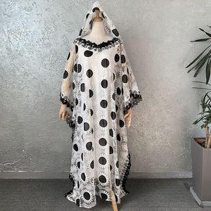 2pcs Set African Design Dashiki Dress Embroidery Lace Mesh Ethnic Muslim Abaya Bazin Robe Gowns Maxi Dresses Riche Lady Party1