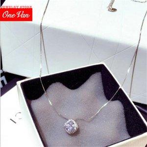 2020 OneVan Neue Luxus-Flash-Super Quadrat Temperament Schlüsselbein Halskette kurze Frauen Halskette