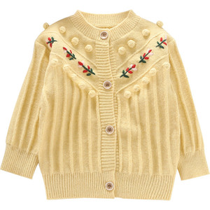 2021 New Clothes Vintage Flowers Girls Sweaters Baby Winter Warm Coat Knit Outwear Sweater 2-6y 6sbo