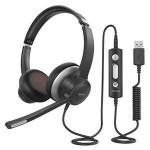 Mpow HC6 USB 3.5mm Headset with Microphone On-Ear 270 Degree Boom Mic In-line Control with Mute for Call Center PC Cellphone
