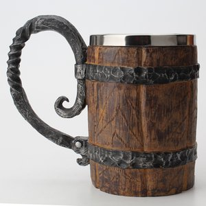 Wooden barrel Stainless Steel Resin 3D Beer Mugs Goblet Game Tankard Coffee Cup Wine Glass Mugs 550ml BEST GOT Gift