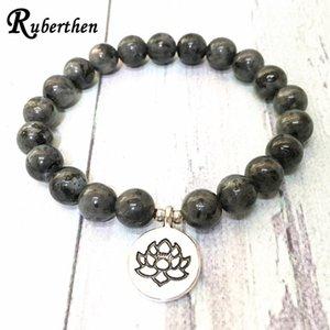 Ruberthen 2020 Gris Nueva Larvikita Lotus pulsera del encanto de la gema de piedra natural del `s de Energía pulsera práctica de la meditación