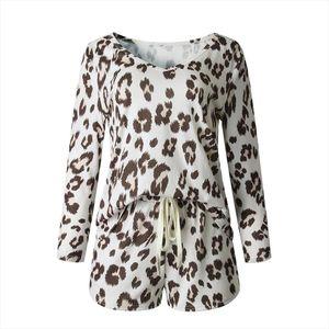 Women Leopard Print Sleepwear Set Pajamas Blouse Top Drawstring Pockets Shorts Pijamas Femmes Seamless Underwear Nightwear