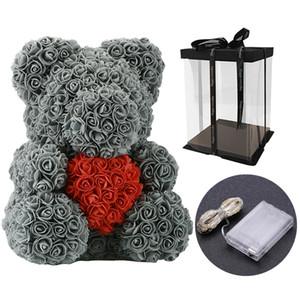 40 cm Güzel Gül Bear ile LED Hediye Kutusu Teddy Bear Gül Sabun Köpük Çiçek Yapay Yeni Yıl Hediyeler Sevgililer Günü Hediyesi için CCE3948