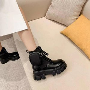 Prada boots shoes Mit Paket Stiefel schwarzen Spitzen-up 2020 heiße Art Tasche Muffin-Schnürstiefel wallet Plateau-Stiefel Trend Mode