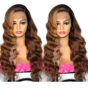 Long Synthetic lace front Wigs Ombre Brown High Density Heat Resistant Wavy 360 lace full Wig For Black White Women Cosplay Party