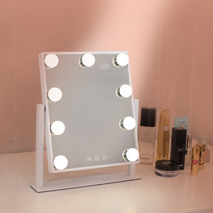New Hollywood Style Portable Small Sized Square Tabletop Light Up Vanity Mirror with LED Lamp Belt Wholesale Mirror