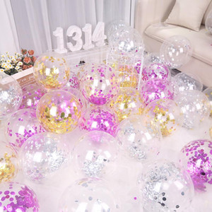 12inch Latex Balloon Gold Confetti Clear Balloons Party Event Supplies Wedding Happy Birthday Decoration Festive Accessories