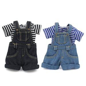 DBS gelada boneca Blyth boneca BJD Licca corpo Strap jumpsuit calção preto e azul 1011