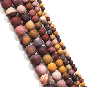 1strand Lot 4 6 8 10mm Matte Red Yellow Mookaite Round Loose Spacer Bead For Bracelet Jewelry Makings Supplies Accessory H bbydfo