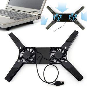 Laptop Desk Support Dual Cooling Fan Notebook Computer Stand Foldable USB Rack Holder Black1
