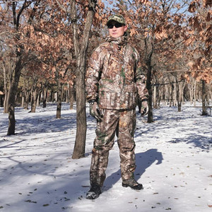Autumn Winter Thicken Warm Fleece Bionic Camouflage Hunting Suit Jacket and Pants Tactical Hiking Fishing Clothes Ghillie Suits