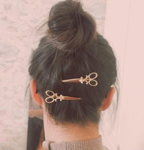Cool Simple Head Jewelry Hair Pin Gold Scissors Shears Clip For Hair Tiara Barrettes Accessories wholesale small gifts free shipping