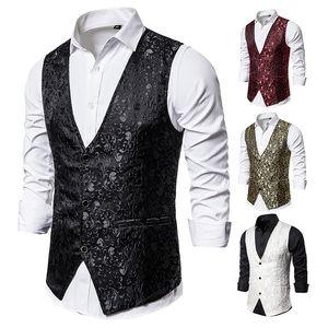 Mens Slim Fit Weiße Jacquard Anzug Weste Sleeveless Männer Weste Slim Fit Weste Männer Gentleman Formale Business Wege Mann