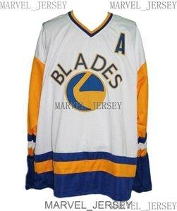 Cualquier número de nombre Saskatoon Blades personalizado Retro Hockey Jersey Tamaño blanco XS-5XL Men