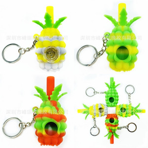 Environment Protection Smoking Pipe Soft Silicone Pineapple Ashtraies Butter Box Home Compact Glass Pipes Womens Portable New 8 9fr M2