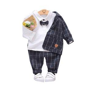 New Spring Children Kids Tie Blazer Formal Cotton Gentleman Casual Boys Jackets T-Shirt Pants 3pcs sets Infant Suit Clothes 201017