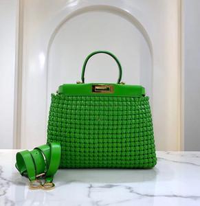 100% de couro de ovelha tecer bolsas de compras tote sacola moda moda clássico homens e mulheres carteira bolsa amarelo verde preto couro azul